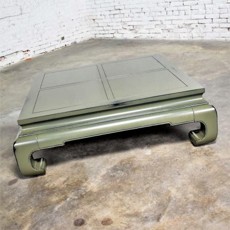 Monumental Square Asian Ming Style Lacquered Coffee Table in Sage Green