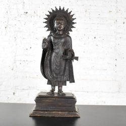Large Bronze Tibetan Standing Buddha Sculpture with Halo Patinated