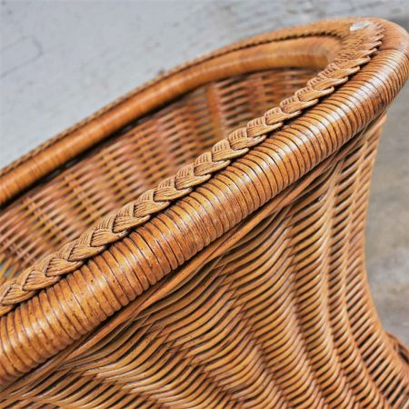 Vintage Organic Modern Woven Wicker Rattan Side or End Table w Rectangular Glass Top