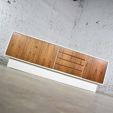 Mid Century Modern Scandinavian Style Credenza Buffet Two Toned w/ White Case & Teak Front