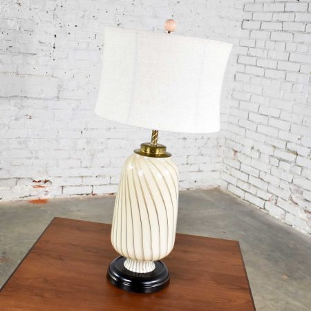 Mid Century Modern Murano Style Blown Glass Table Lamp Cream and Taupe