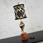 Vintage Cast Brass Conch Shell Table Lamp on Turned Wood Base