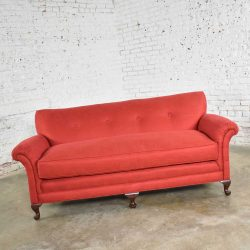 Red Smaller Size Lawson Sofa with Rolled Arms Down Bench Seat and Tight Back