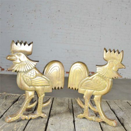 Vintage Rooster Andirons Solid Brass