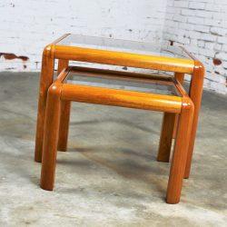 Vintage Danish Mid-Century Modern Teak and Glass Square Nesting Side Tables