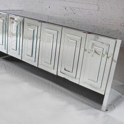 1970s Vintage Post Mid-Century Modern Ello Mirrored Credenza Cabinet