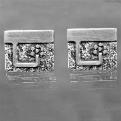 Vintage Guy Gilles Vidal Brutalist Cufflinks in Silver-plated Pewter