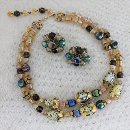 Vintage Hobé Double Strand Necklace with Glass Beads and Gold Tone Filigree