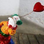 Fun Bright Mixed Media Folk Art Clown Sculpture with Balloon Paper Maché