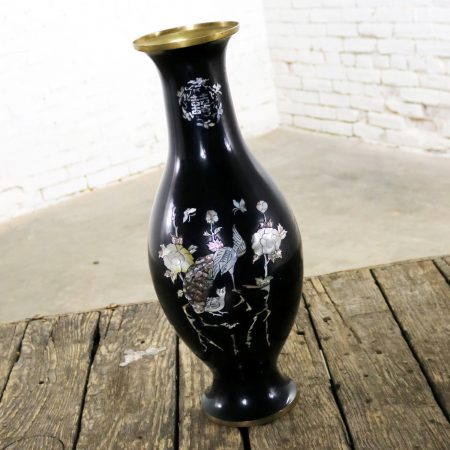 Black Lacquer with Inlaid Mother of Pearl Korean Bottle Vase Extra Large Footed Vintage