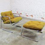 Postmodern Chrome Tube Baughman Style Sling Lounge Chair and Ottoman
