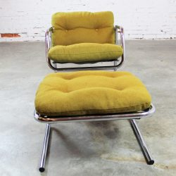 Postmodern Chrome Tube Baughman Style Sling Lounge Chair and Ottoman