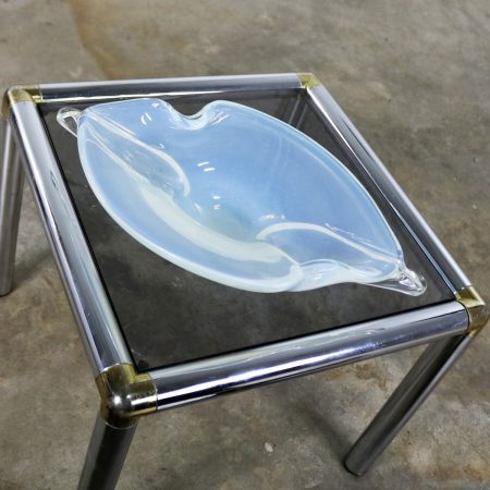 Large White Opalescent and Clear MCM Murano Glass Centerpiece Bowl Biomorphic