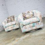 Post Mid-Century Modern Pair of 1970s Swivel Barrel Chairs