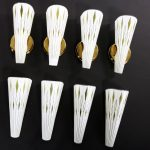 Four Mid Century Modern Curved Glass Wall Sconces White with Harlequin Diamonds
