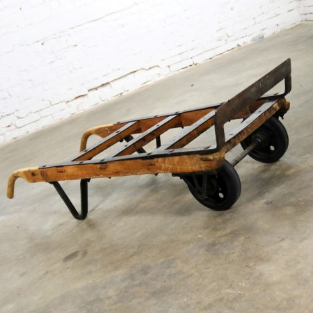 Antique Industrial Oak and Iron Hand Truck Trolley Marked K&J of Columbus Ohio