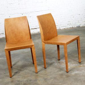 Pair Poltrona Frau Lola Dining Side Chairs by Pierluigi Cerri Vintage Cognac Leather