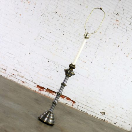Stiffel Tall Table Lamp or Low Floor Lamp Mid Century Brass and Brushed Stainless Steel