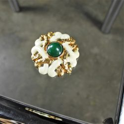 Vintage KJL Kenneth J. Lane Brooch in Gold-tone and White Enamel