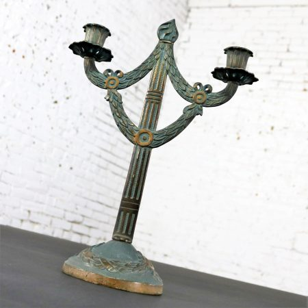 Antique Japanned Finish Two Candle Candelabra