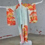 Vintage Japanese Turquoise and Orange Full Length Silk Kimono