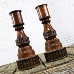 Pair Vintage Turned Wood and Composite Candle Holders