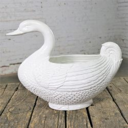 Large Pure White Porcelain Swan Jardinière Planter or Serving Tureen