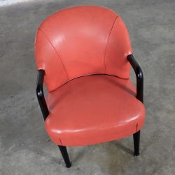Art Deco Vintage Lounge Chair Orange and Black with Ebonized Bentwood Arms