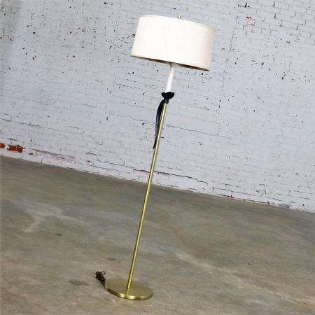 Mid Century Hollywood Regency Floor Lamp Brass and Black Accent with Drum Shade