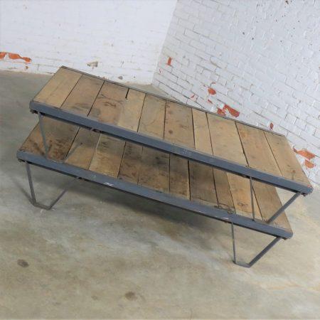 American Industrial Oak and Steel Pallet Coffee Table Three by Five Feet