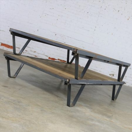 American Industrial Oak and Steel Pallet Coffee Table Three by Five Feet