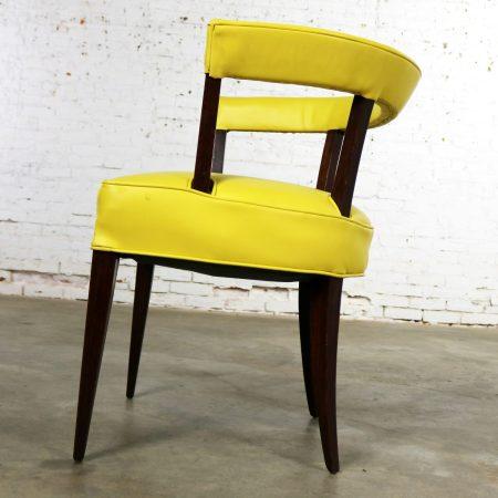 Mid Century Modern Yellow Vinyl and Oak Barrel Back Side Chair