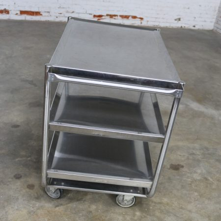 Industrial Three Tier Stainless Steel Rolling Cart Vintage