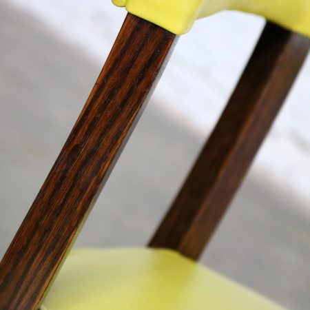 Mid Century Modern Yellow Vinyl and Oak Barrel Back Side Chair