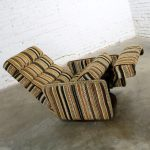 Milo Baughman for James Inc. Swivel Reclining Lounge Chair with Stripe Fabric