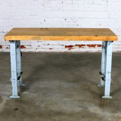 American Industrial Work Table Maple Top Steel Base Vintage