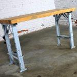 American Industrial Work Table Maple Top Steel Base Vintage