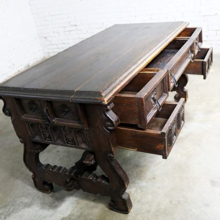 Spanish Revival Style Desk with Hand Wrought Hardware by Artes De Mexico