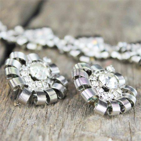Vintage Hobé Silver-Tone and Rhinestone Bracelet and Earrings