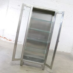 Vintage Stainless Steel Industrial Display Apothecary Medical Cabinet with Glass Doors and Shelves #7