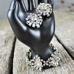 Vintage Hobé Silver-Tone and Rhinestone Bracelet and Earrings