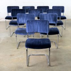 Set of Ten Cantilevered Chrome and Blue Velvet Dining Chairs After Marcel Breuer Cesca