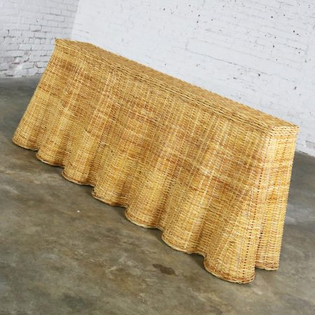 Trompe L'oeil Draped Natural Rattan Wicker Long Console Sofa Table Vintage