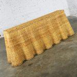 Trompe L'oeil Draped Natural Rattan Wicker Long Console Sofa Table Vintage