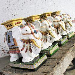 Elephant Garden Stools Side End Tables Stands Vintage Made in Vietnam