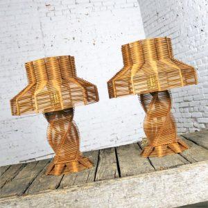 Original Vintage Pair Folk Tramp Art Popsicle Stick Lamps
