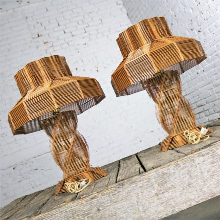 Original Vintage Pair Folk Tramp Art Popsicle Stick Lamps