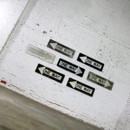 Seven Vintage Metal One Way Arrow Signs