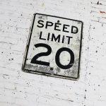 Vintage Speed Limit 20 Large Steel Traffic Sign