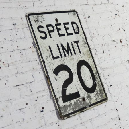 Vintage Speed Limit 20 Large Steel Traffic Sign
